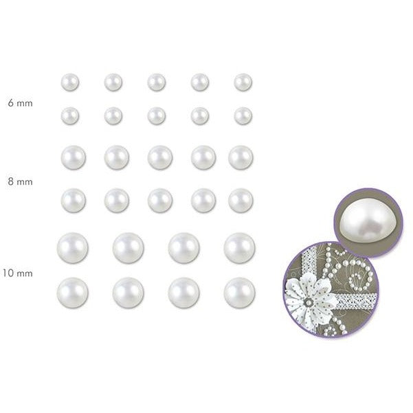 6-10mm Pearl Halves - White, 28/pk