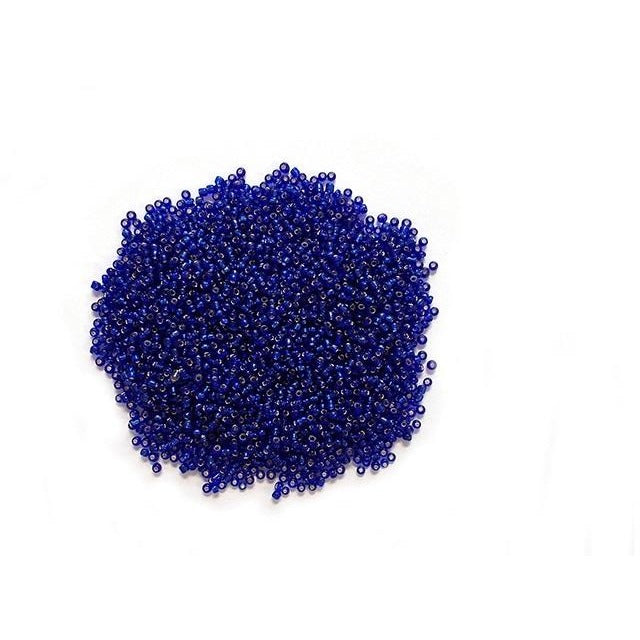 Glass Seed Beads Silverlined - Capri Blue, 60g/pk
