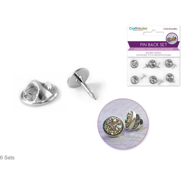 Pin Back/Pin Set - Silver, 6/pk