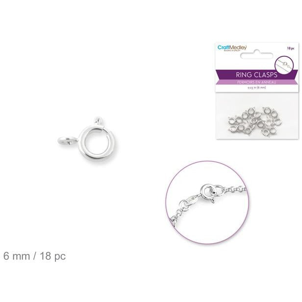 Ring Clasp with Spring 6mm - Silver, 18/pk