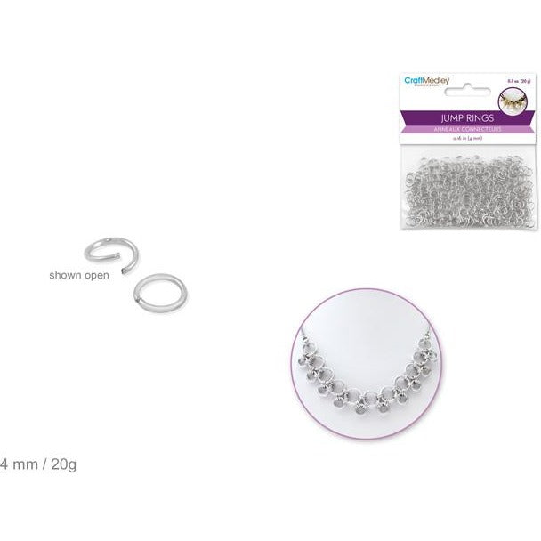 Jump Ring 4mm - Silver, 20g/pk