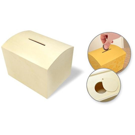 Wood Coin Piggy Bank with Bottom Slide Latch
