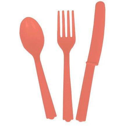 Coral Assorted Plastic Cutlery 18/pk