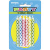 Multi Color Diamond Dots Candles 10/pk