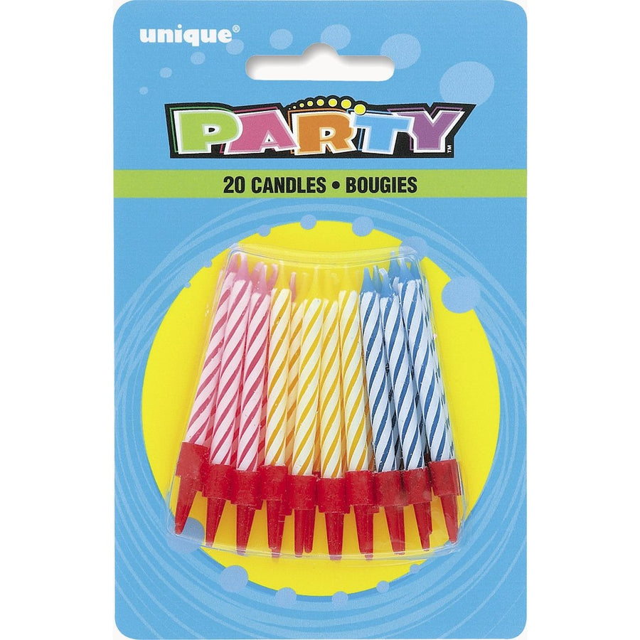 Multi-Colour Spiral Candles 20/pk