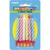 Multi-colour Spiral Candles with Holders 12/pk