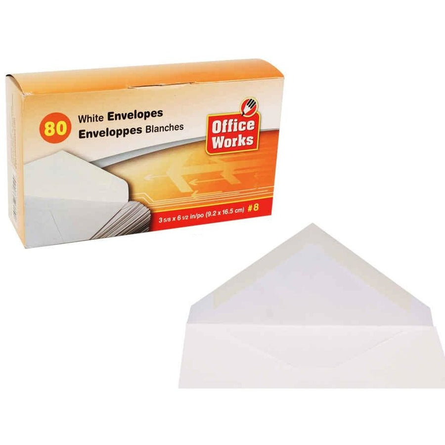 #8 White Envelopes, 80/pk