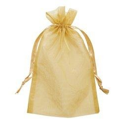 "4-pc 5""x6.5"" Organza Gift Bags - Gold"