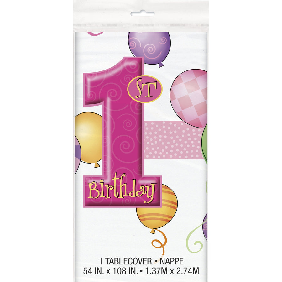 1st Birthday Pink Plastic Table Cover Rectangular