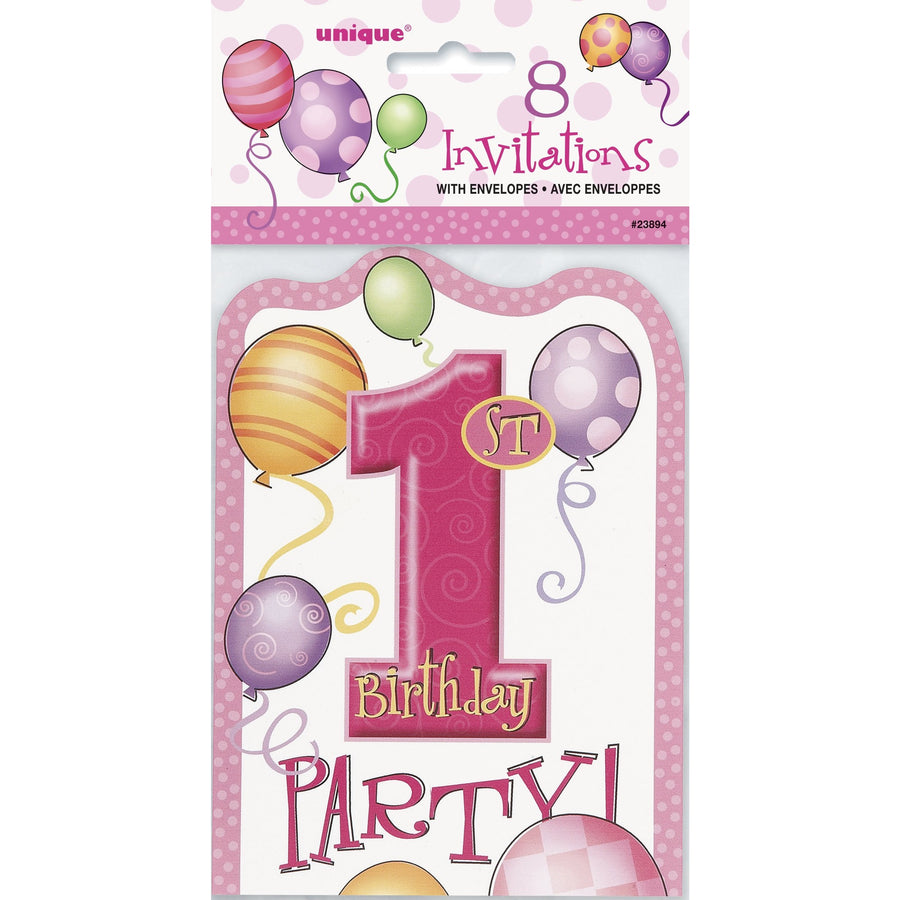 Invitations - 1st Birthday Girl, 8/pk