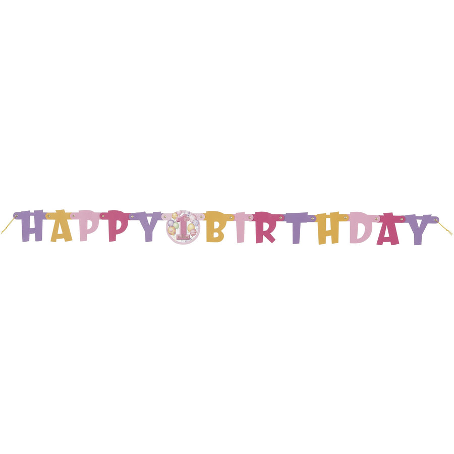 """Happy 1st Birthday"" Pink Jointed Banner"
