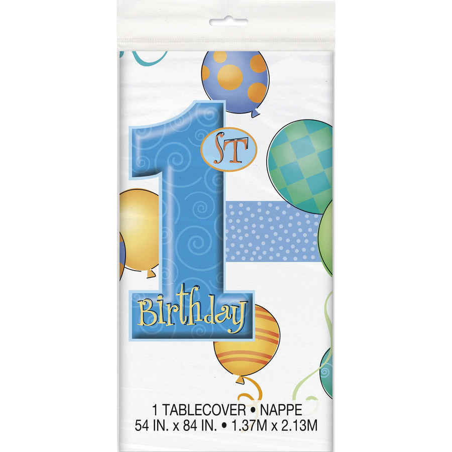 1st Birthday Blue Plastic Table Cover Rectangular