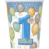 9oz First Birthday Blue Paper Cups 8/pk