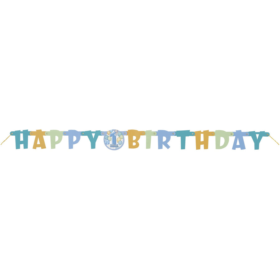 """Happy 1st Birthday"" Blue Jointed Banner"