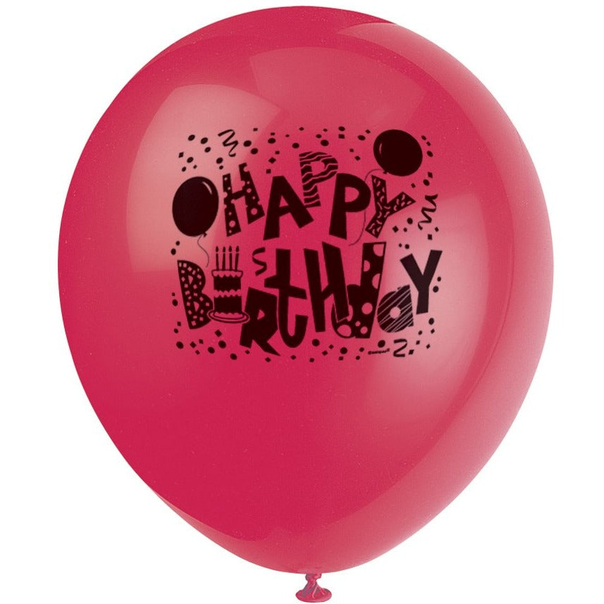 Birthday Jamboree Printed Latex Balloons 4 assorted colours 8/pk