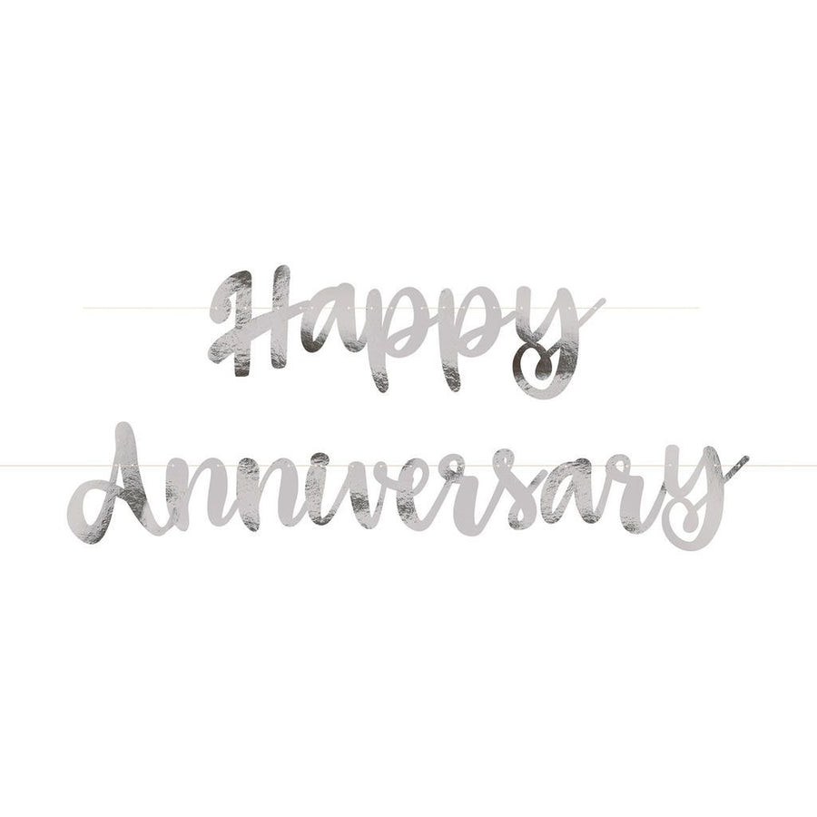 """Happy Anniversary"" Silver Deluxe Jointed Banner"