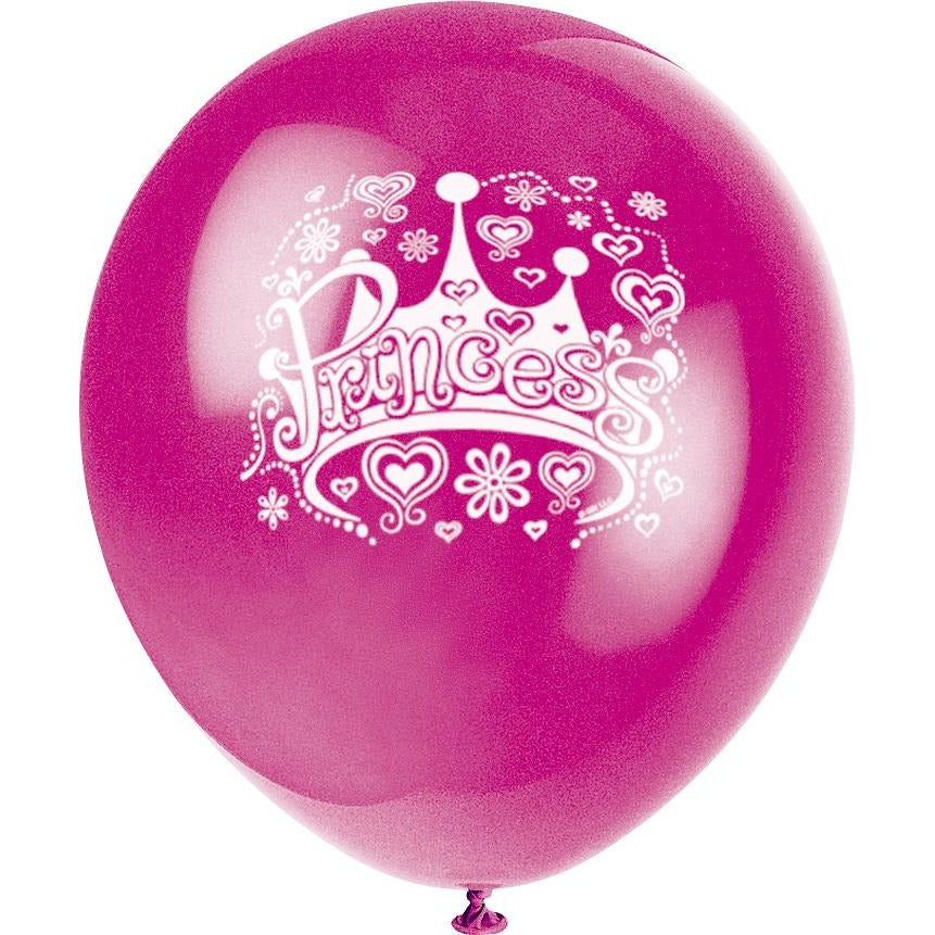 Princess Crown Printed Latex Balloons 4 assorted colours 8/pk