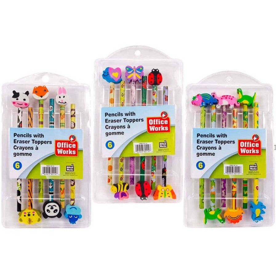 Pencils with Eraser Toppers, 6/pk