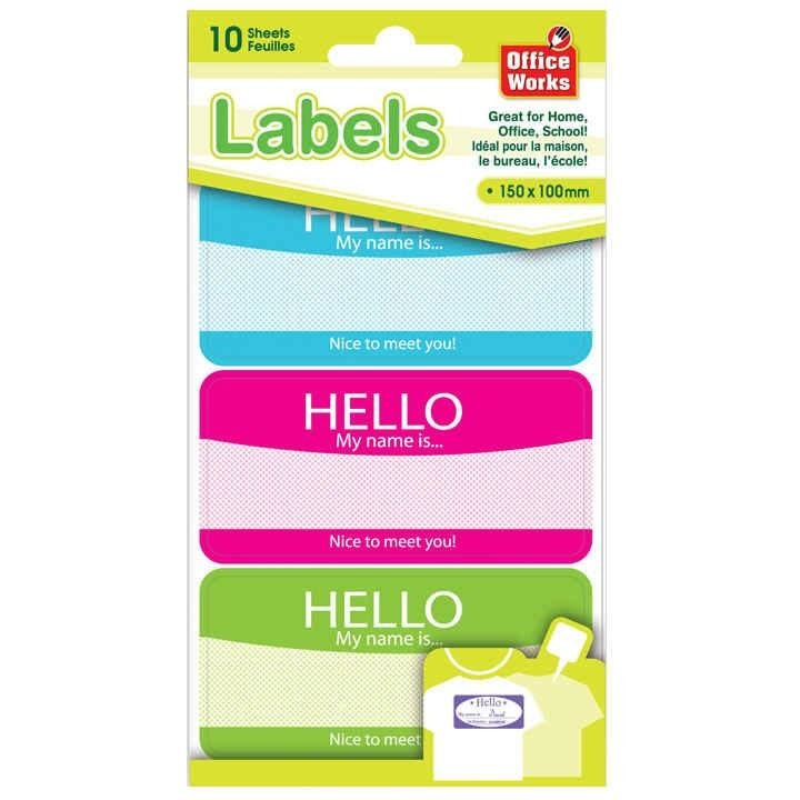 Self-Adhesive Name Tag Labels