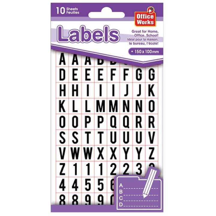 Self-Adhesive Alphabet & Number Labels