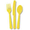 Yellow Assorted Plastic Cutlery 18/pk