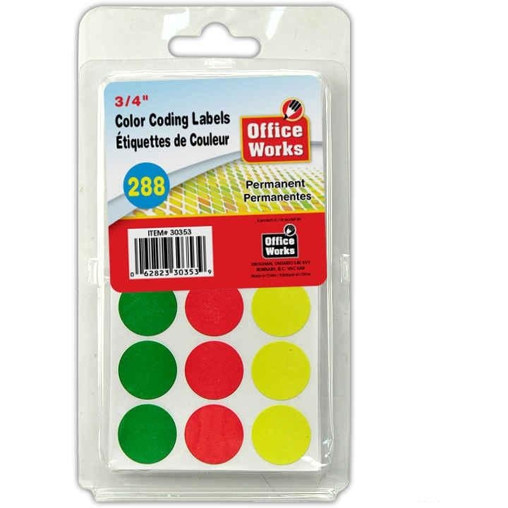 "Colour Coding Labels, 288-pc 3/4"" Dia"