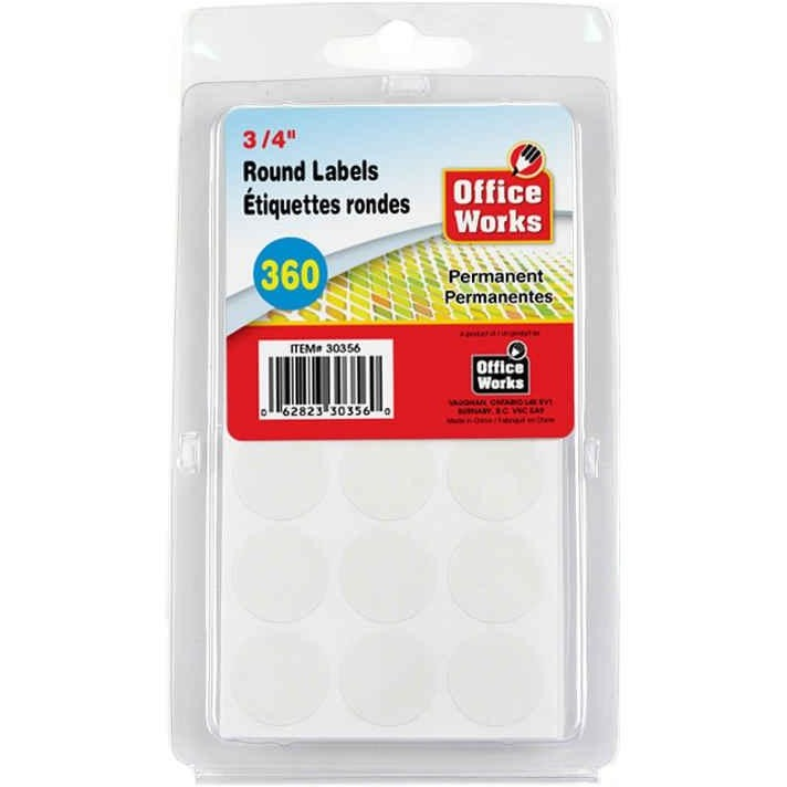 "White Round Labels, 360-pc 3/4"" Dia"