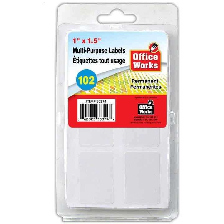 "Multi-Use Labels, 102-pc 1""x1.5"""