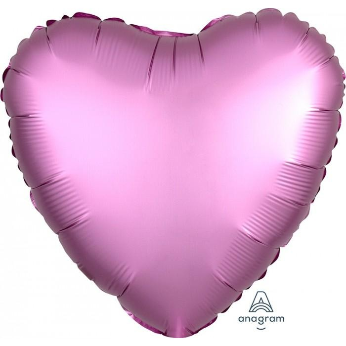 "17"" Heart Satin Luxe Flamingo"