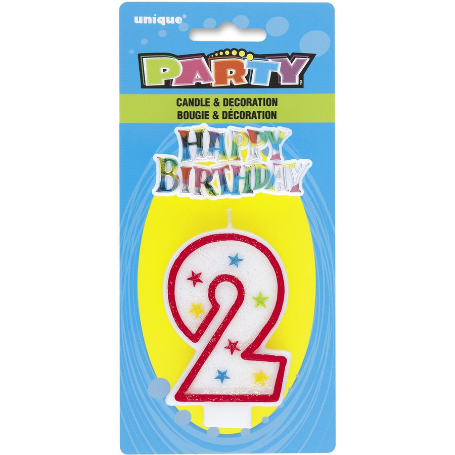 "Numeral Glitter ""2"" with Happy Birthday Cake Topper"