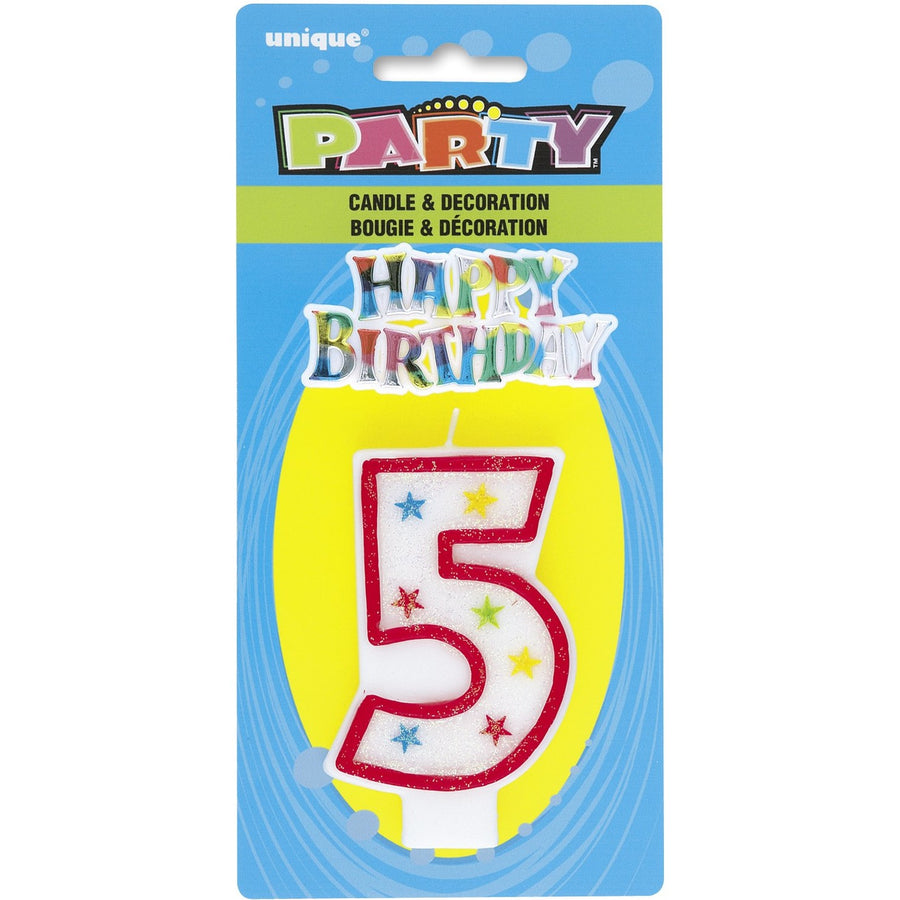 "Numeral Glitter ""5"" with Happy Birthday Cake Topper"