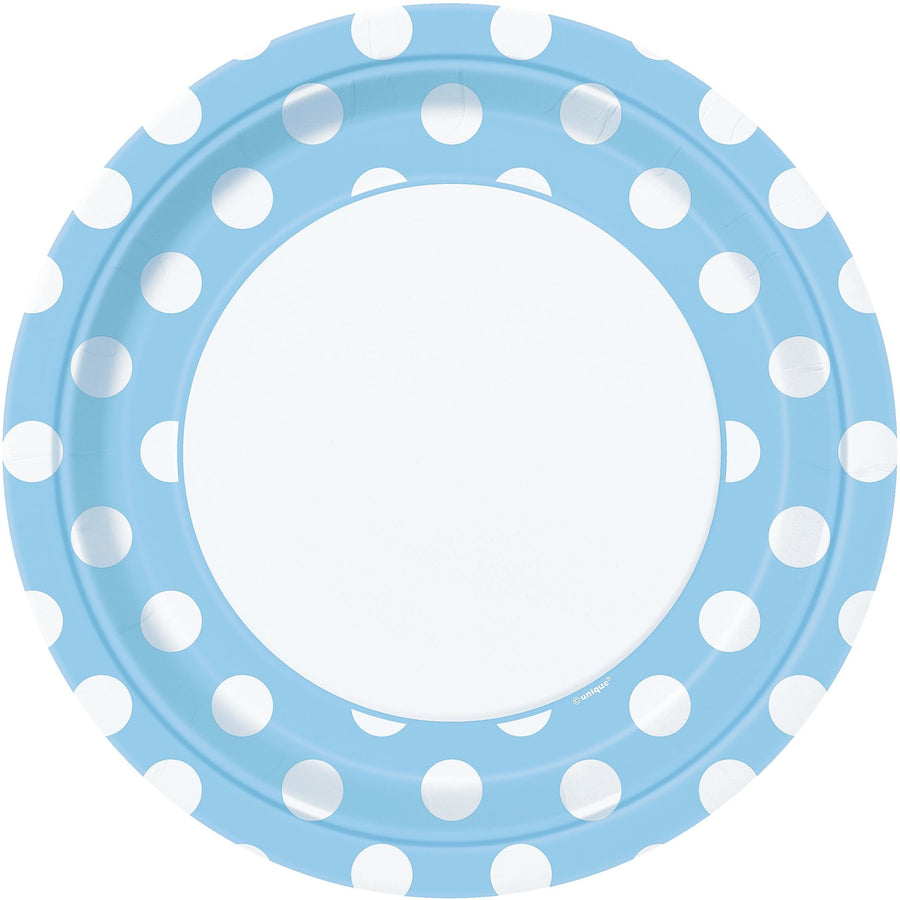 "9"" Powder Blue Dots Paper Plates 8/pk"
