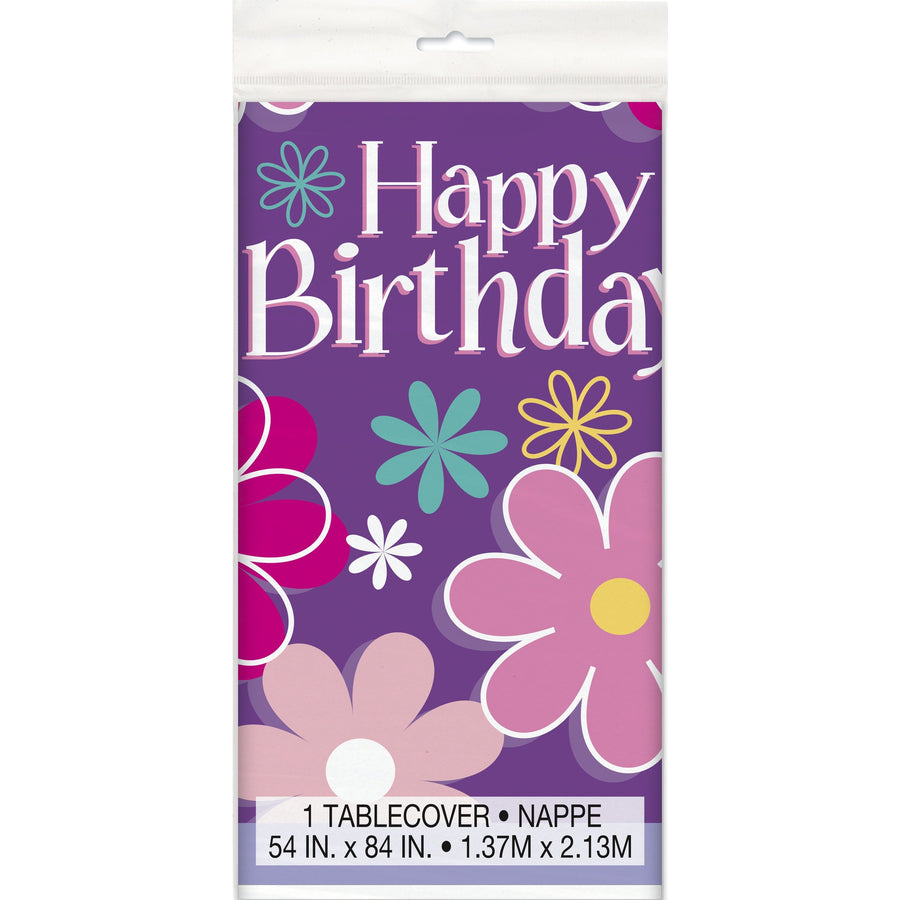 Birthday Blossom Plastic Table Cover Rectangular