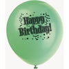 Birthday Bravo Printed Latex Balloons 4 assorted colours 8/pk