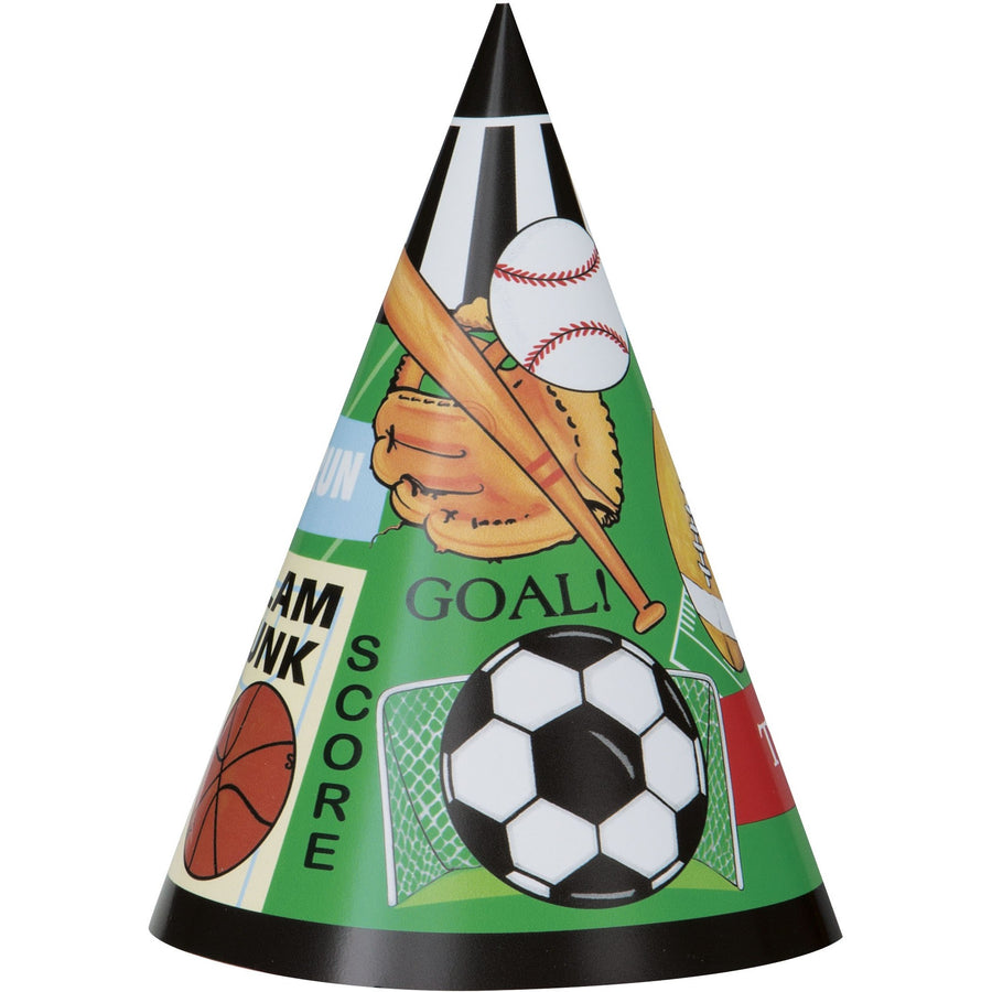 Party Hats - Sports, 8/pk