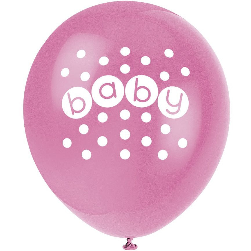 Baby Printed Latex Balloons 4 assorted colours 8/pk