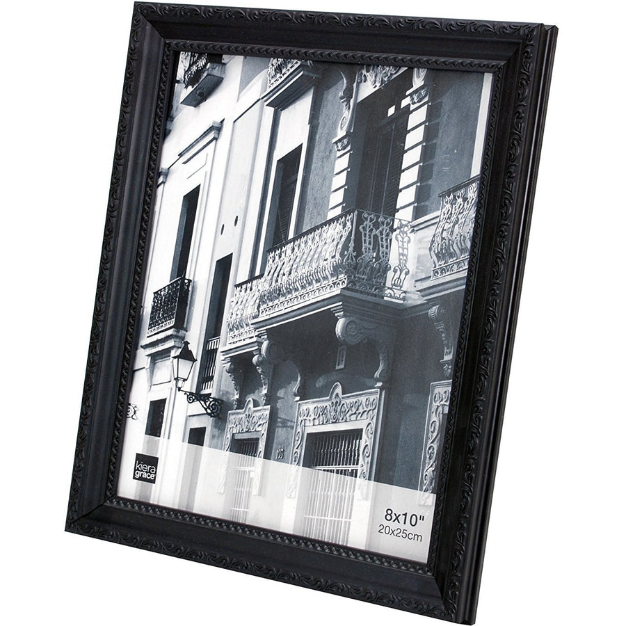 "Picture Frame, 8""x 10"", Black with Raised Leaf Border"