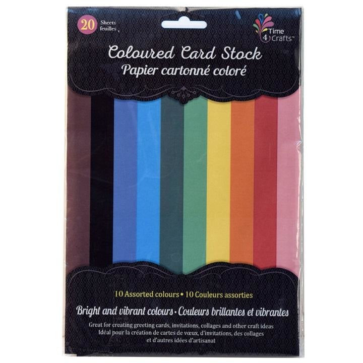 Coloured Card Stock, 20 Sheets