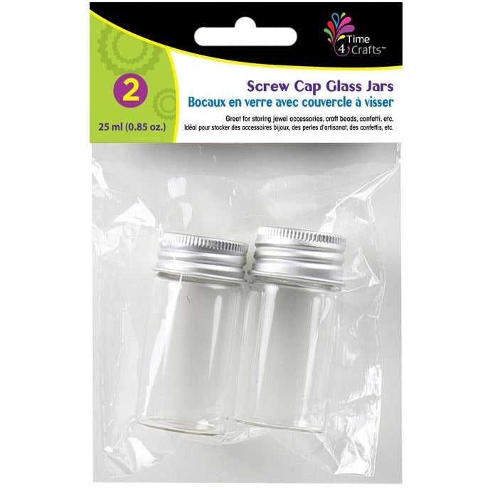 Glass Jars with Screw Caps 25ml, 2/pk