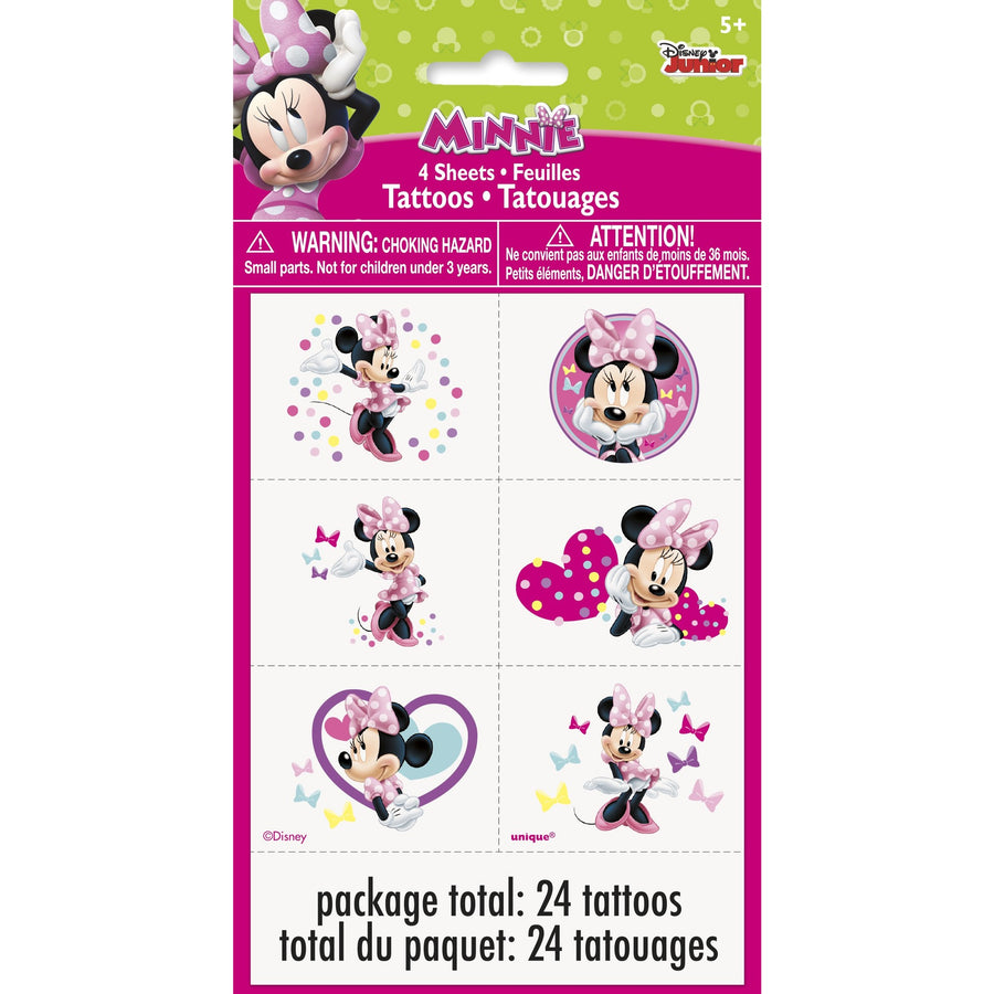 Tattoo Sheets - Minnie Mouse, 24/pk