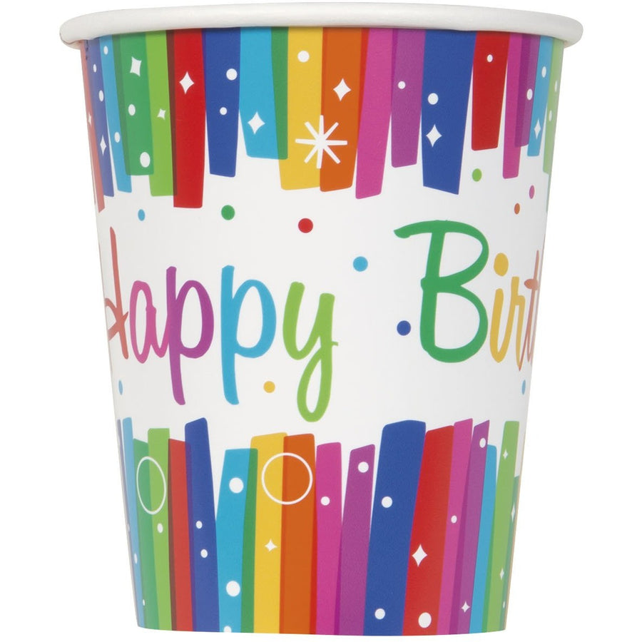 9oz Rainbow Ribbons Paper Cups 8/pk
