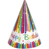 Party Hats - Rainbow Ribbons, 8/pk