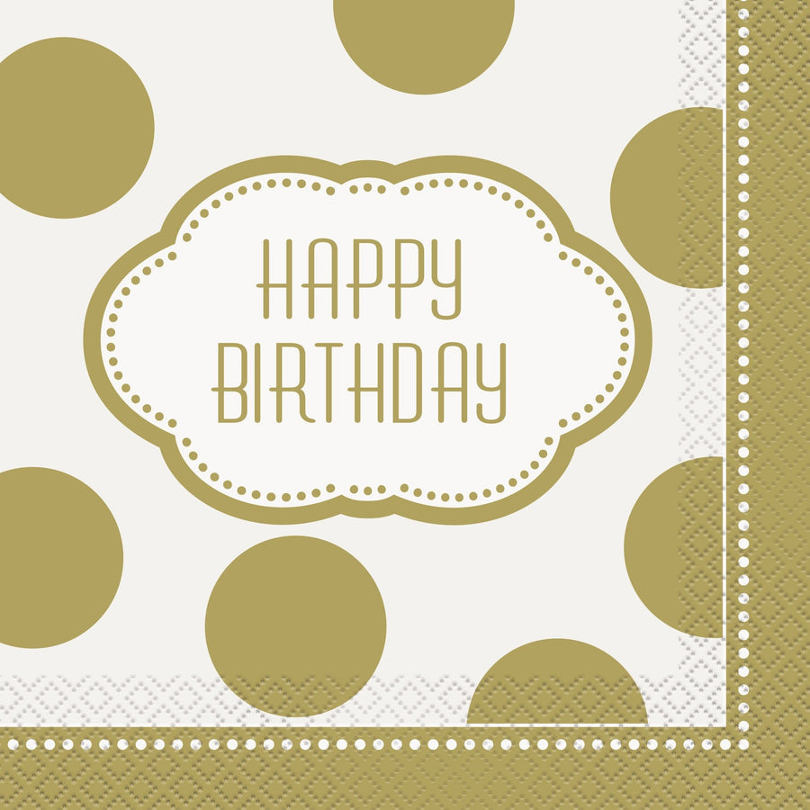 "13"" x 13"" Golden Birthday Napkins 16/pk"