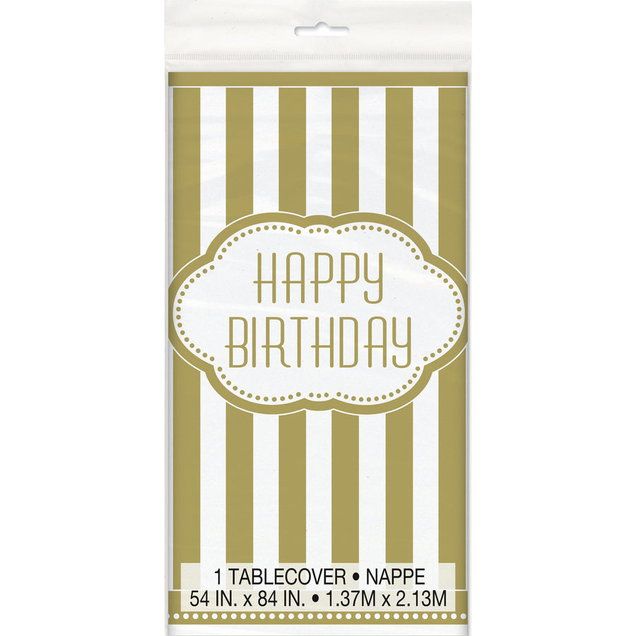 Golden Birthday Plastic Table Cover Rectangular