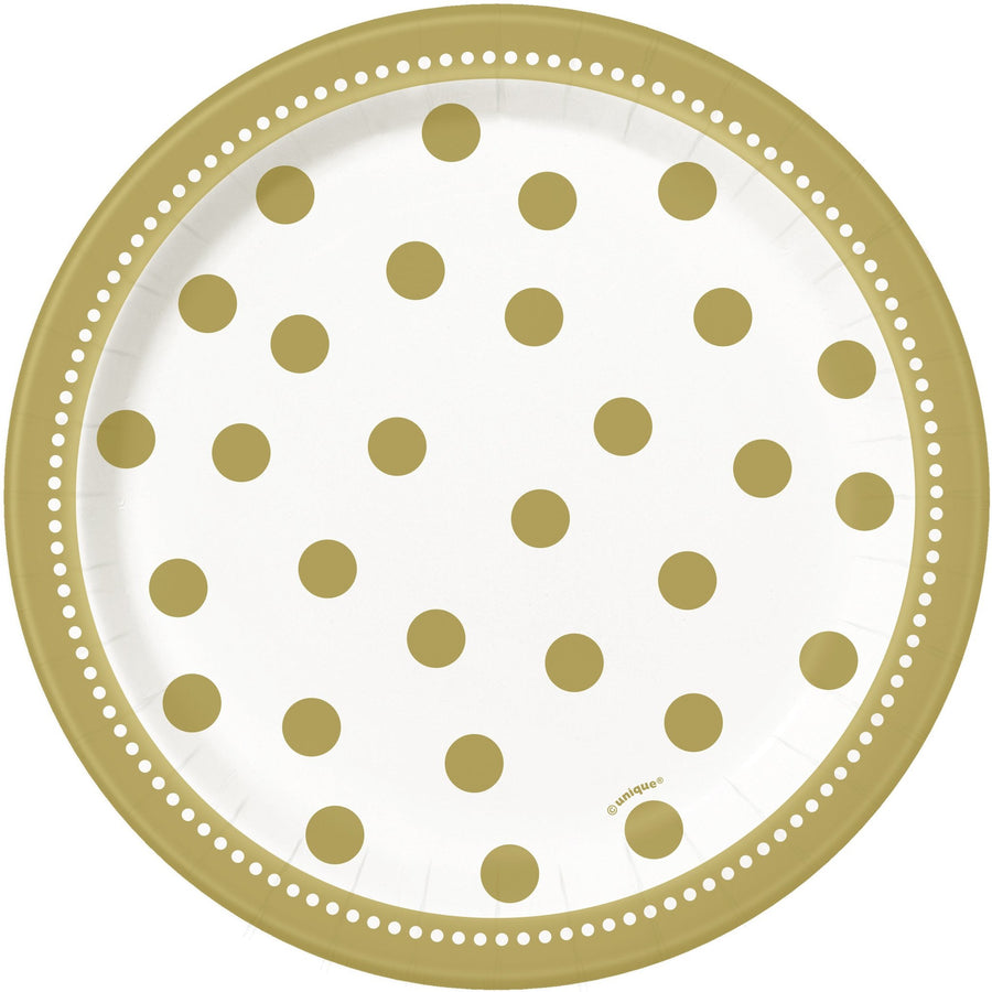 "7"" Golden Birthday Paper Plates 8/pk"