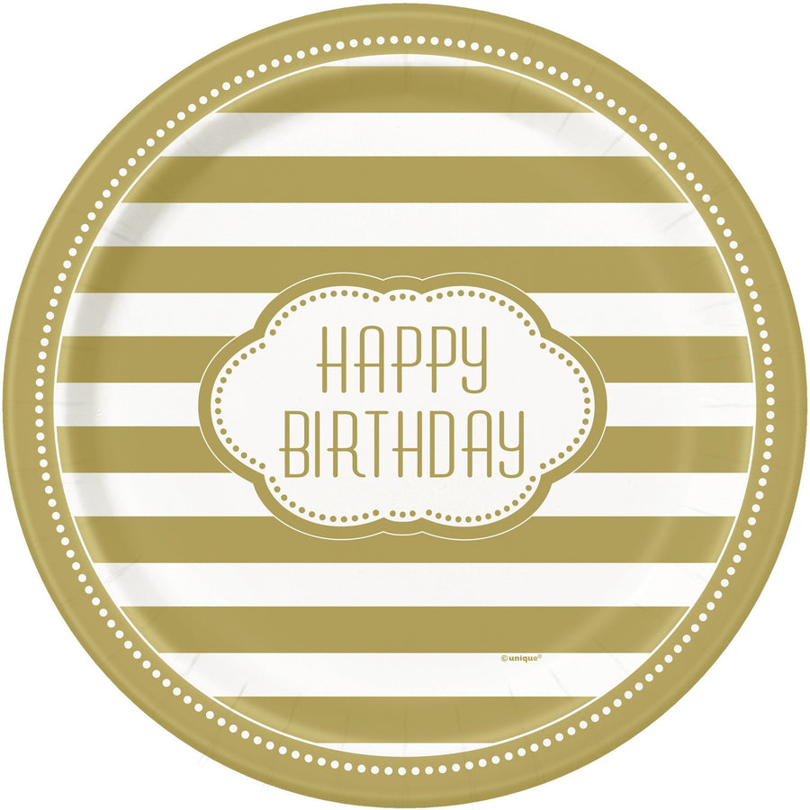 "9"" Golden Birthday Paper Plates 8/pk"