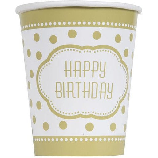 9oz Golden Birthday Paper Cups 8/pk