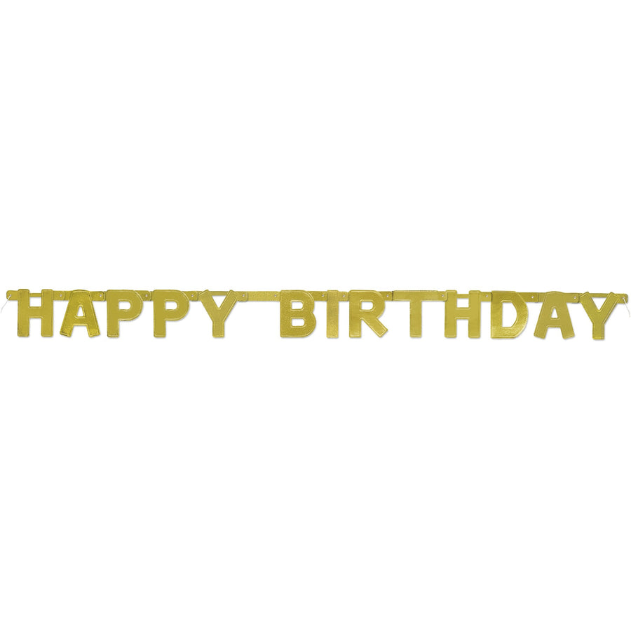 """Happy Birthday"" Deluxe Gold Jointed Banner"