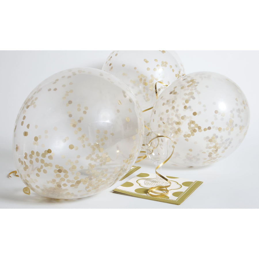 Clear Balloons with Gold Confetti 6/pk