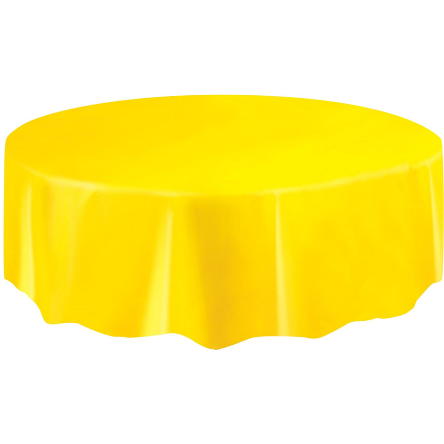Yellow Plastic Table Cover Round